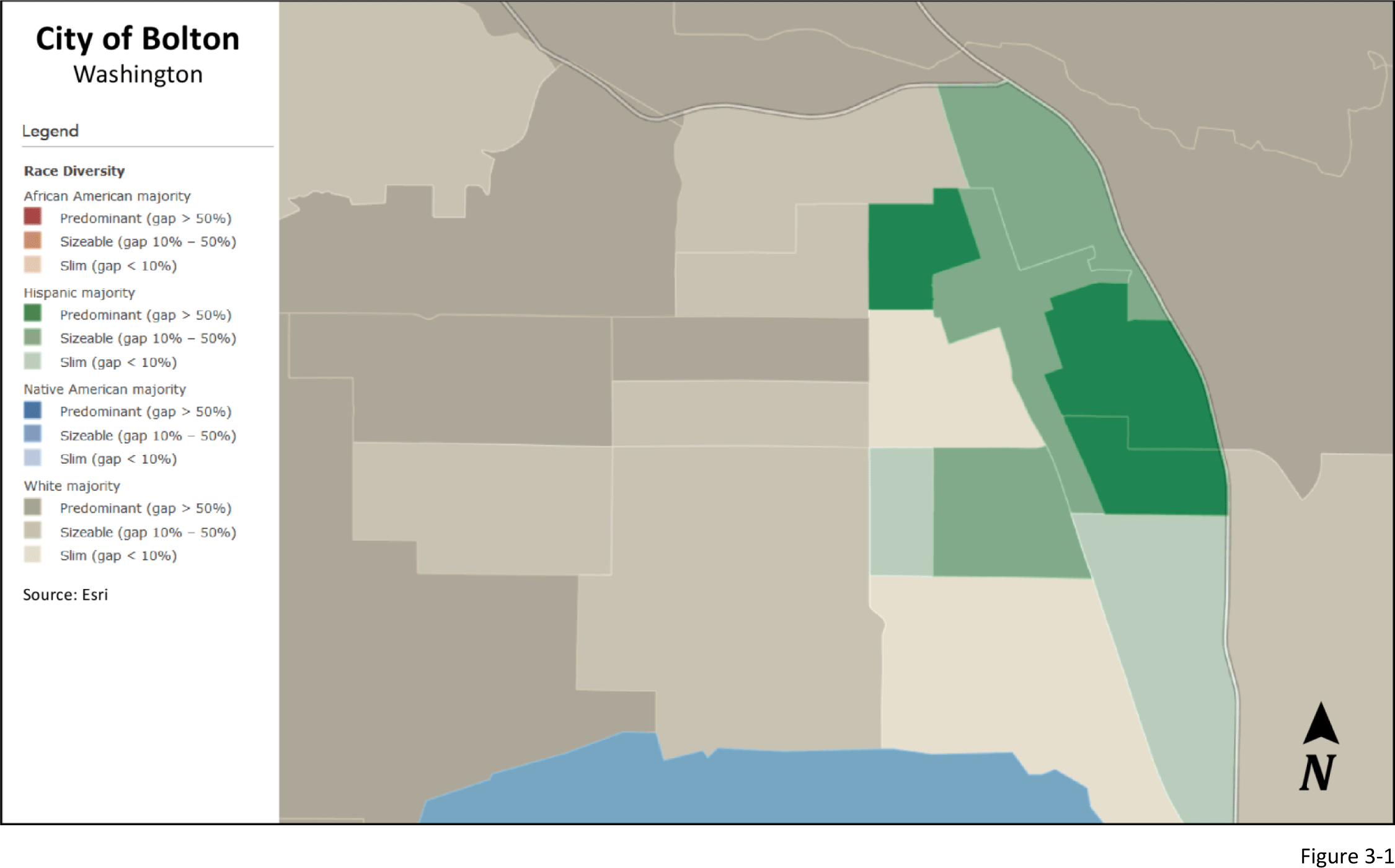 Figure 3-1: City of Bolton, Washington racial diversity
