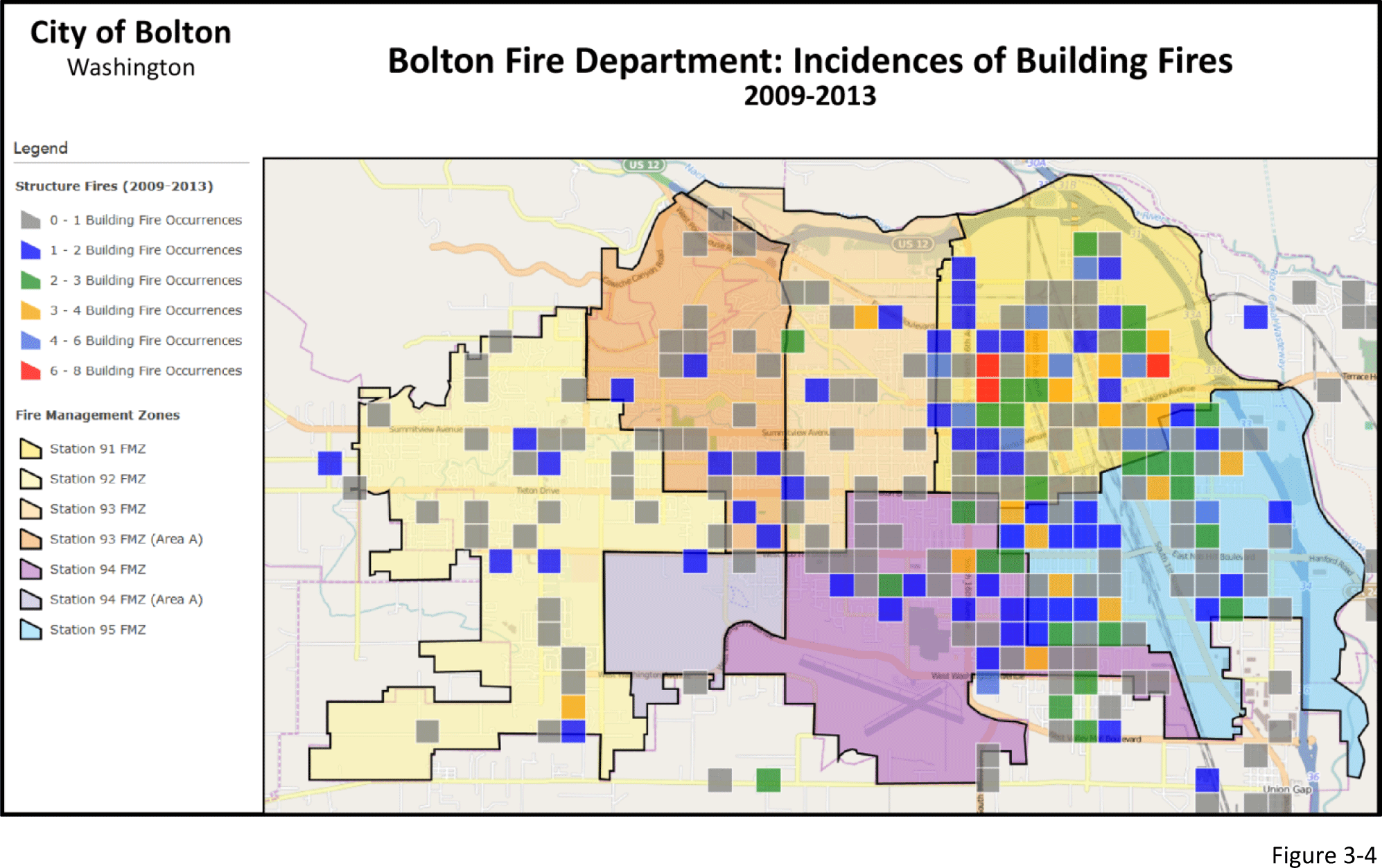 Figure 3-4: Map showing incidences of building fires. Color-coded to indicate volume of fires in region.