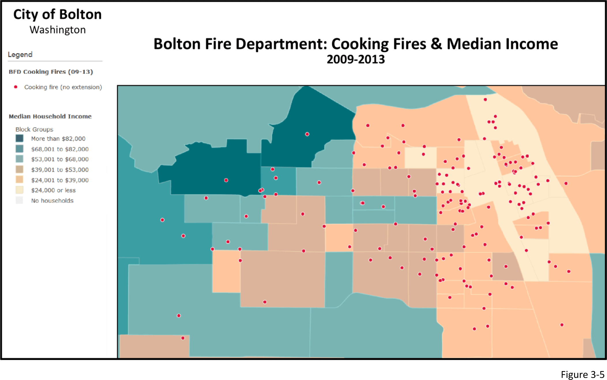 Figure 3-5: Map overlaying cooking fires with median income by area.