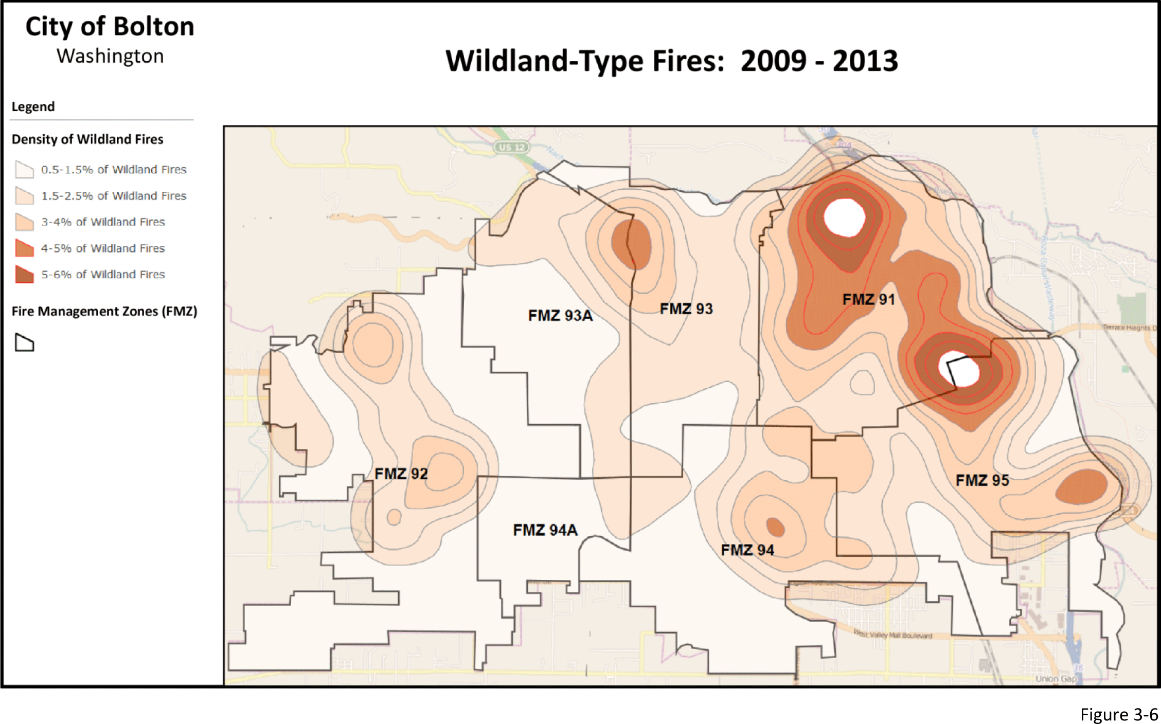 Figure 3-6: Map showing percentage of fire reports that were wildland type fires.