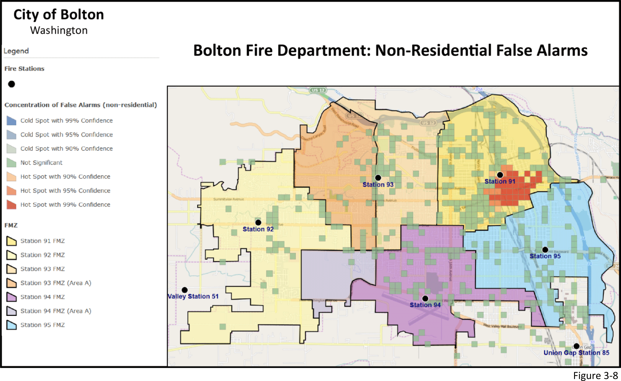 Figure 3-8: Bolton Fire Department map of Non-residential false alarms